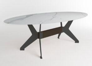 BP Bixx tafel met keramiek blad en zwart onderstel