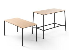 Brunner Nate-s tafels en hoge bartafels met zwart metaal onderstel