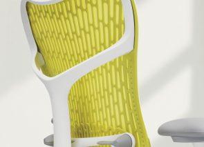 Achterkant van een gele Mirra 2 bureaustoel