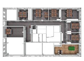 3D ontwerp 2e etage met glaswanden ICBC