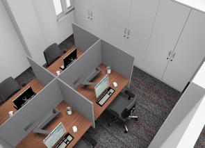 3D inzicht werkplekken met akoestische schermen tegen geluidsoverlast