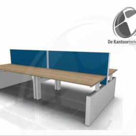 workbench met wangen onderstel en akoestische buro divider