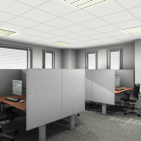 rendering werkplekken met plafond