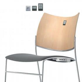 Zaalstoel en kerkstoel met rijnummer en stoelnummer