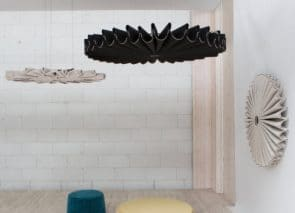 Akoestische designobjecten plafond en wand
