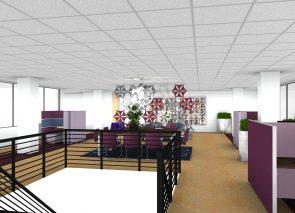 3D Inzicht kantoorontwerp met akoestisch gordijn