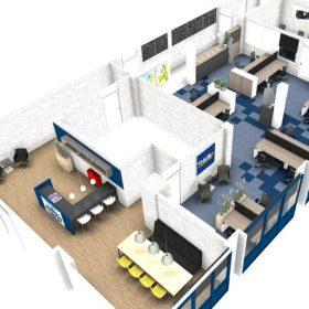 3D ontwerp kantoorinrichting Thijs Logistiek in Weert