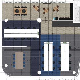 Bovenaanzicht 2D ontwerp linkerdeel Hays in WTC Utrecht