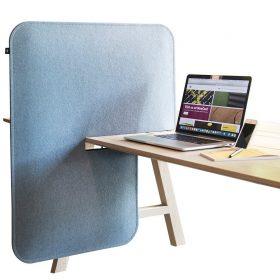 Buzzispace buzzidesk split akoestisch scherm dat over je bureau geschoven kan worden