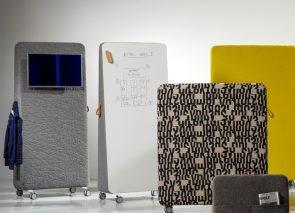 Cascando Trunk verrijdbare room divider o.a. uit te voeren als whiteboard of akoestisch dempende stof