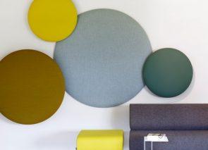 Cascando pillow round akoestische wandpanelen in diverse diameters leverbaar