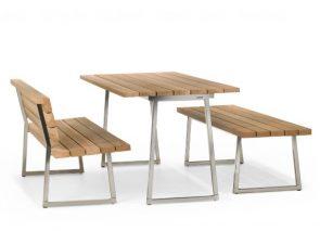 Houten tafel met banken voor kantines, scholen, openbare ruimtes. Met deze houten tafel heb je buiten en binnen een outdoor gevoel