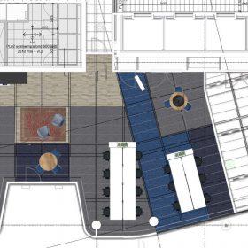 Rechterdeel 2D ontwerp bovenaanzicht ontwerp Hays in WTC Utrecht