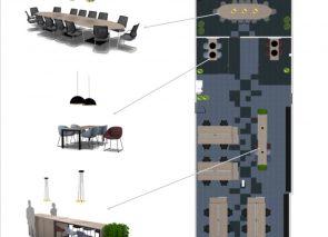 2d kantoorontwerp met productpresentatie