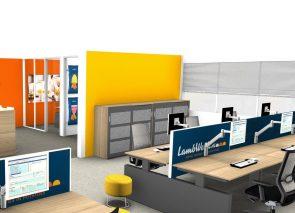 3D inzicht kantoorinrichting in huiskleuren
