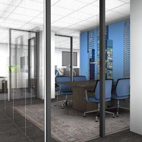 3D inzicht kantoorontwerp met glaswanden