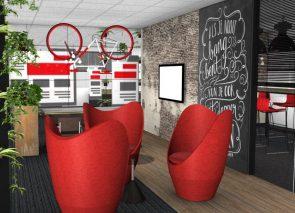 3D inzicht kantoorontwerp reclamebureau