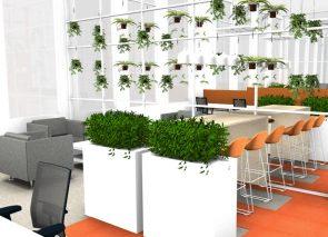 3D kantoorontwerp met veel groen op kantoor