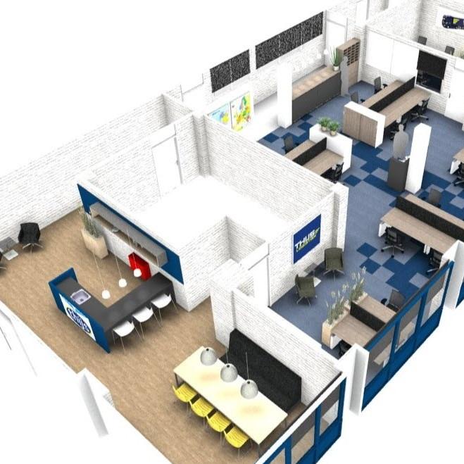 Projectinrichting conceptmatig ontwerp ook voor kleinere for Ontwerp kantoorinrichting