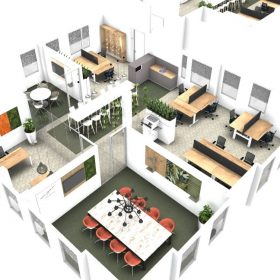 3D presentatie van complete kantoorinrichting