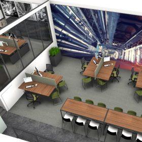 3d visualisatie van kantoorontwerp voor uitzendbureau