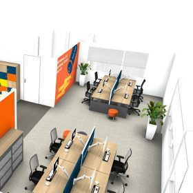 Inzicht 3D ontwerp kantoor Interieurontwerp interieurarchitectuur