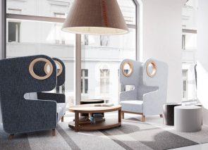 Mikomax Packman oorfauteuil geeft een vrolijke twist aan entree kantoor of lounge