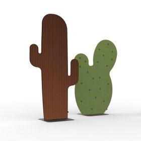 Akoestisch dempende vrijstaande roomdivider in de vorm van een cactus
