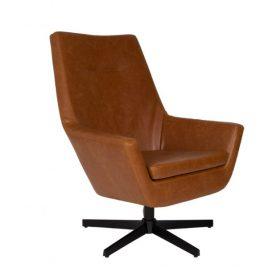 Dutchbone Don lounge chair fauteuil in leder met kruisvoet