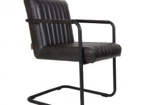 Dutchbone stitched armchair uitgevoerd in PU leer met zwart metalen frame