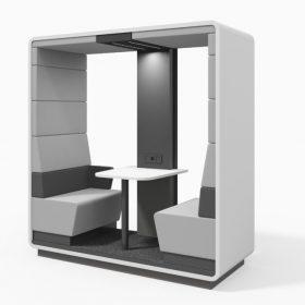 Open concentratie unit voor 2 personen akoestisch dempend met tafeltje