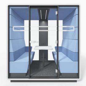 Afgesloten akoestische overleg unit voor ongestoord vergaderen of overleg in een kantoortuin