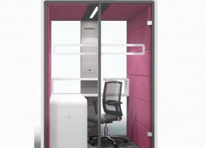 Akoestische afgesloten concentratie unit voor ongestoord werken in kantoortuin