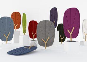Geluidsabsorberende vrijstaande schermen in de vorm van een boom in vele kleuren leverbaar