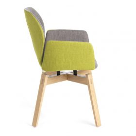 Mobitec stoel Mood met armleuningen en houten onderstel