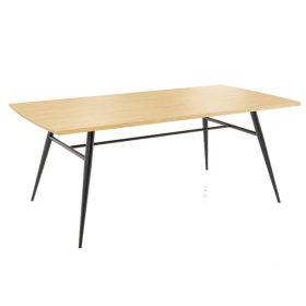 Mobitec tafel Mood met sierlijk metalen onderstel en houten blad