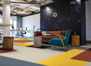 Modulyss tapijttegels Fashion& voor een retro feel kantoor