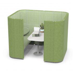 Concentratieunit met ronde vormen met tafeltje voor overleg op kantoor