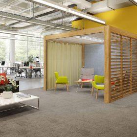 Losstaande vrijstaande vergaderunit met lamel afwerking voor gebruik in kantoortuin