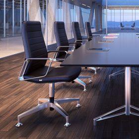 Klassike lederen vergaderstoel voor een stijlvolle uitstraling van je vergaderruimte