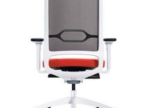SE moderne bureaustoel met wit onderstel en netweave rug