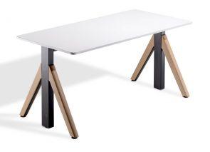 WINEA sta zit tafel met moderne houten design poot