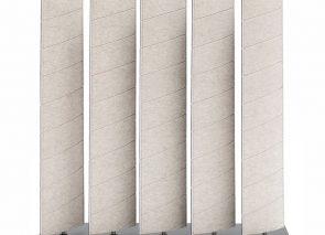 Vrijstaande akoestische roomdivider waarbij de stand vd lamellen de mate van privacy bepalen