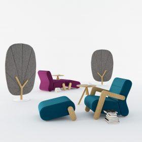 Akoestische dempende stoelen en geven meteen sfeer op kantoor