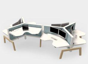 Zit sta bureau voor 3 personen los in de ruimte te plaatsen met houten onderstel