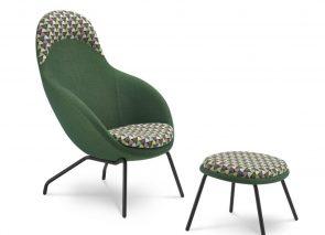 Bejot VIENI fauteuil met bijpassend voetenbankje