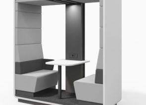 Flexibele overleg unit voor 2 personen in te zetten als open overlegunit in oa bedrijfskantine