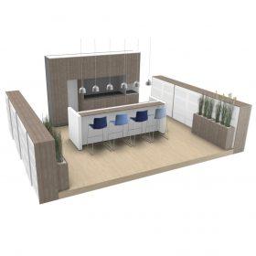 Podium met Pantry 3D visualisatie interieurbouwwerk