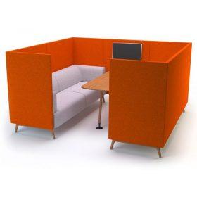 Lounge vrijstaande akoestische overlegruimte met tafeltje en digitaal scherm