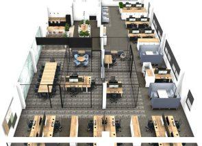 3D ontwerp voor completen kantoorinrichting en kantoorverbouwing